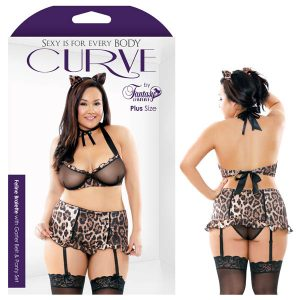 Curve Feline Bralette With Garter Belt & Panty Set