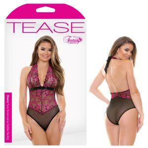 Tease Sherry Two Tone Lace Halter Teddy