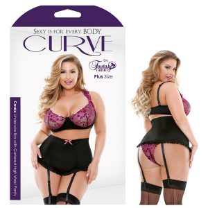 Curve Cassie Underwire Bra with Gartered High Waist Panty 1X/2X